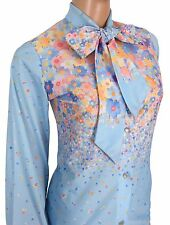 Vintage 70s 80s Pussybow Blouse Lady Holiday Blue Floral Retro Secretary Shirt S