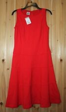 NWT Anne Klein women 6 Red Dress Sleeveless A-line Knee Stretch Knit
