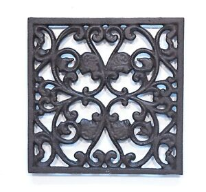 Cast Iron Metal Square Trivet Tea Pot Sauce Pan Stand Rustic Style top protector