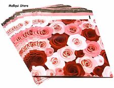 100 RED & PINK ROSES DESIGNER 10X13 MAILER POLY BAGS MAILING PLASTIC BAGS -DES.1