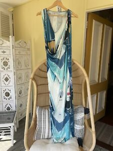 Lisa Ho Jersey Draped Dress With Side Split - Stunning 8 10