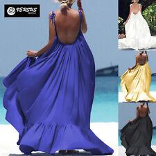 Vestido Largo Mujer Playero Color Liso Llanura De Maxi 110422