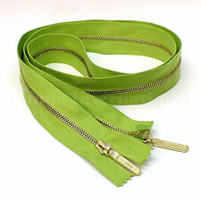 """RiRi Zipper Metal 4, 2 Way Separating End, Brass, Green 2740, Lang S, 34.5"""""""