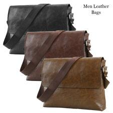 Magnetic Buckle Men Retro Leather Messenger Shoulder Bag Satchel Business Black