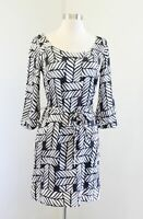 White House Black Market Geometric Print Tie Waist Silk Blend Shift Dress Sz XS