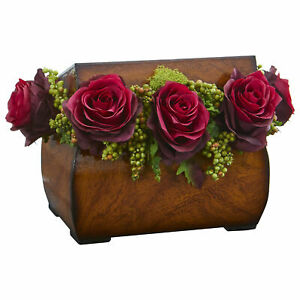 Roses Artificial Arrangement In Decorative Chest Decor Nearly Natural Burgundy