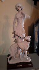 "Giuseppe Armani Figurine "" Lady With Borzoi"" White"