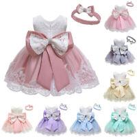 Baby Girl Lace BowknotPrincess Wedding FormalTutu Dress + Headband Set Clothes