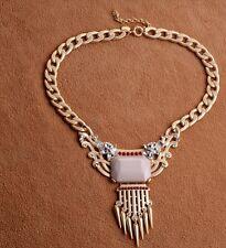 Baroque Chunky Crystal Rhinestone Fringe Metal Gold Tone Choker Necklace Pendant