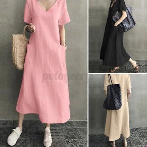 UK Women V Neck Short Sleeve Midi Dress Summer Ladies Shirt Dresses Kaftan Plus