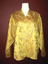 Eleven Stich Design L 100% silk gold floral long sleeve button down shirt top
