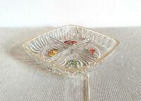 Antico vassoio da portata, antipasto in cristallo con decoro. Vintage