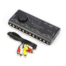 Durable 4In1 Out Audio Video AV Signal RCA Selector Switcher Splitter Black AB3