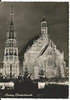 Ansichtskarte Nürnberg -Schöner Brunnen und Frauenkirche bei Nacht- schwarz/weiß