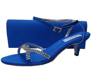Ladies Wedding Party Heel Shoe Evening Sandal Diamante Royal blue Satin NEW
