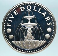 1973 BARBADOS Proof Arms Fountain Trafalgar Antique Silver 5 Dollars Coin i84085