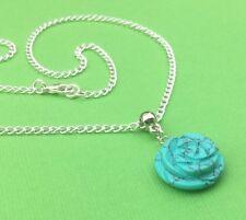 Dyed Howlite Gemstone Elegant Rose Pendant Necklace Turquoise - Aussie Seller!