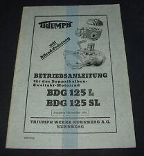 Betriebsanleitung Triumph BDG 125 L / SL Doppelkolben Zweitakt Motorrad 11/1953!
