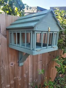 Wooden Bird Table Fence/Post/Wall fixed.DETERS LARGER BIRDS.Various colours.