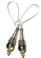 Long Grey Earrings Antique Tibetan Silver Style Drop Dangle Pierced Glass Bead
