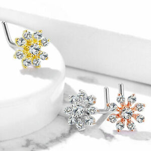 SURGICAL STEEL L SHAPED PRE BENT LARGE FLOWER NOSE STUD SET WITH CLEAR CZ