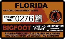 "4"" Florida FL Bigfoot Hunter Hunting Permit Sticker Sasquatch Vinyl Decal"