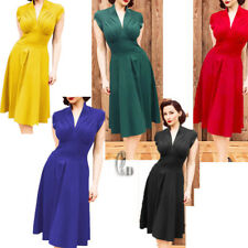 AU STOCK 40'S 50'S RETRO V-NECK ROCKABILLY COCKTAIL PARTY OFFICE DRESS  DR043