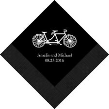 100 Tandem Bike Bicycle Personalized Printed Wedding Cocktail Napkins