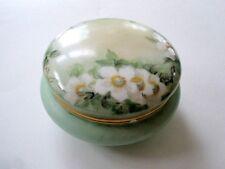 Antique T&V Limoges Dresser Jar Trinket Powder Box Apple Blossom signed dated