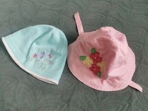 Thin Hats Bundle 6-9mth old baby girl paste blue jersey flowers embroidered pink
