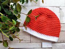 Christmas Newborn Baby Hat, handmade crochet baby wear. Red and white.