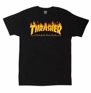 NWT Brand New Thrasher Flame Logo Black Tees