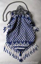 Antique Silver T Art Nouveau Filigree Frame Cobalt Blue White Bead Fringed Purse