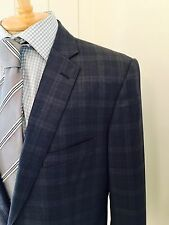 DAVID AUGUST BLACK Bespoke Men's Sports Coat Blazer Suit Jacket Navy Plaid, 42L