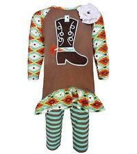 Girls ANN LOREN western boutique outfit 18-24 NWT brown aqua cowboy boot 18-24M