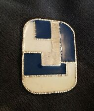 Vintage Large 80s Geometric Blue Cream Enamel Goldtone Rectangle Brooch Abstract