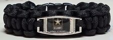 US Army; Army Strong Black Paracord Unisex Bracelet for Soldiers & Veterans