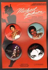 MICHAEL JACKSON BUTTON BADGE PACK OF 4 1958-2009. SEALED NEW IN PACKAGE