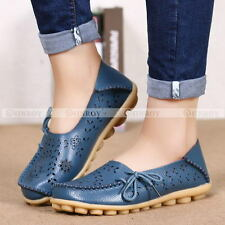 Women Chic Hollow Out Carving Leather Driving Moccasin Flat Loafers Casual Shoes