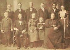 """ANTIQUE 1880's-1900 CABINET PHOTO - UNIDENTIFIED 11"""" X 14"""" FAMILY PORTRAIT"""