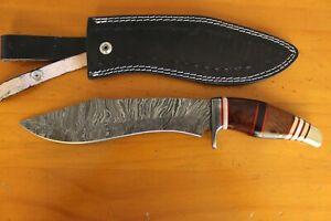 Handmade kukri knife,Rose wood,Camel bone spacers and shiny brass handle,sheath