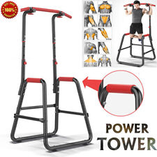 Portable Pull Up Dip Station Power Tower Chin Up Stand Exercise Equipment Usa