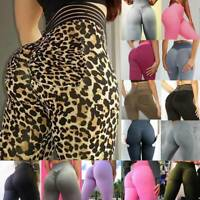 Women Ruched Push Up Compression Leggings Yoga Pants Anti Cellulite Sports Gym
