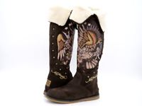 Don Ed Hardy Womens 8 Brown Suede Faux Fur Knee High Shearling Style Boots