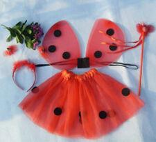 4Pcs Kids Girls Ladybug Costume Set Wing+Tutu+Wand+Headband Party Fancy Dress