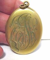 ANTIQUE GOLD FILLED OVAL LOCKET INITIALS 30 X 45 MM 13 GRAMS