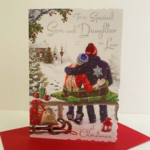 Jonny Javelin Special Son And Daughter In Law Christmas Card Couple Bench/XV042