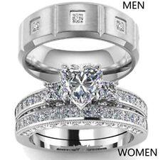 Couple Rings Titanium Steel CZ Mens Band Ring Heart CZ Women's Wedding Ring Sets