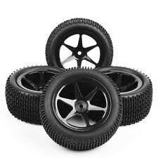 4Pcs Ruber Front Rear Tire Wheel Rim Set For 1:10 RC Off-Road Buggy Car 12mm Hex