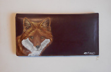 Red Fox Portrait Hand Painted Leather Checkbook Cover